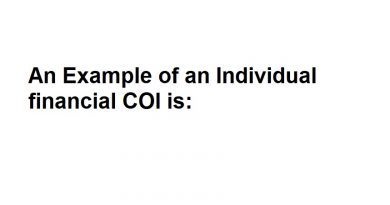 An Example of an Individual financial COI is